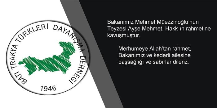 Ayşe Mehmet Hakk-ın Rahmetine Kavuşmuştur