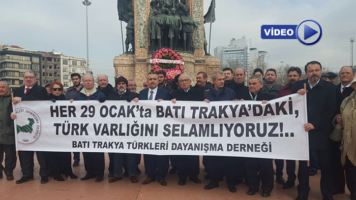 Batı Trakya Türkleri 29 Ocak'ta Taksim Atatürk Anıtına Çelenk Sundu