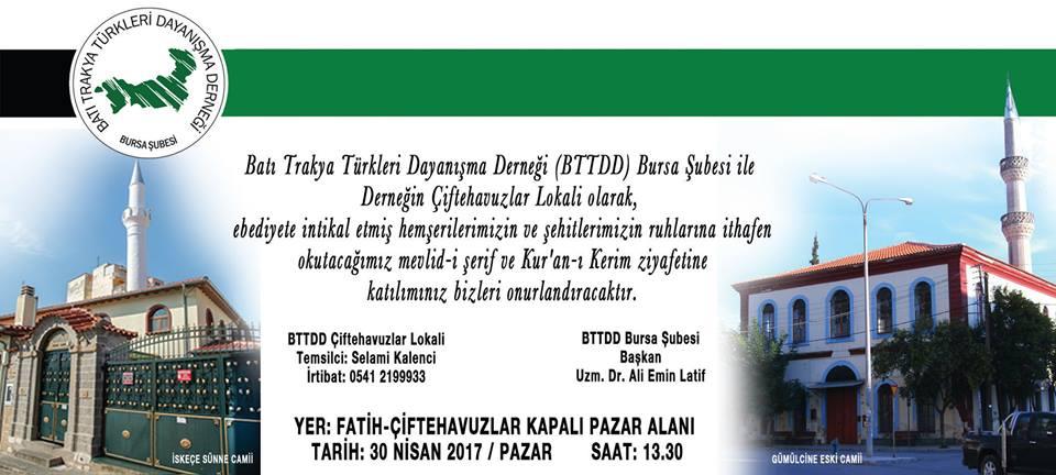 Bursa Şubemizden 30 Nisan'da Kur'an-ı Kerim Tilaveti