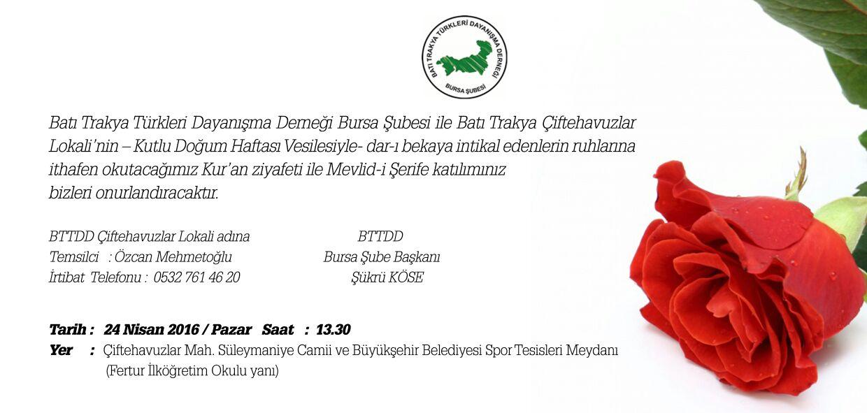 Bursa'da Kutlu Doğum Haftası Etkinliği